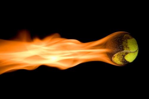 Flaming tennis ball